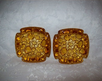 Vintage Amber Bubble Pebble Art Glass Ashtrays by Blenko Mid Century Pair Just 8 USD