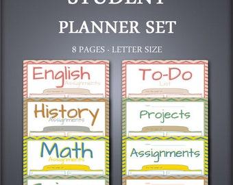 Printable Homeschool Planner Set - Class Planner Set - Daily Planner Set - School Planner Set - Student Planner Set