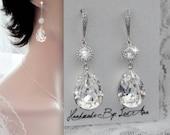 Swarovski crystal earrings, Teardrops, Crystal wedding earrings, Sterling wires, Brides earrings, Bridal jewelry set,Crystal earrings,SOPHIA
