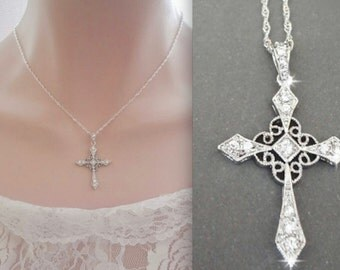 Cross necklace ~ Cubic Zirconia's ~ Christian jewelry ~ Brides necklace ~ Wedding necklace ~ Cross of Christ ~Christian bridal jewelry~Gift