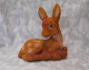 Vintage Flocked Fuzzy Deer Bank