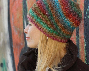 Hand knitted women hat - chunky Colorful hat Noro yarn