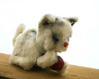 Mechanical - Wind Up -  Plush- Rolling- Cat -Kitten - Occupied Japan