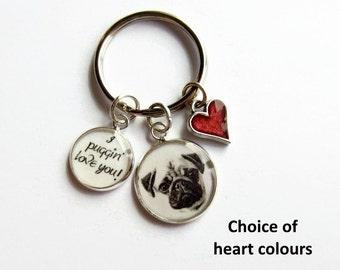 Pug Keychain, Pug Dog Keyring, Pug Charm Keychain, Pug Lover Gift, Gift for Dog Lover, Gift for Her