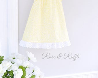Toddler Girl Yellow and White Cotton Dress, Eyelet Lace, Portrait Dress, 24M/2T READY to SHIP, Rose and Ruffle