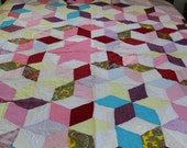Vintage hand quilted Star block quilt
