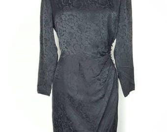 Black Silk Floral Formal Dress - S/M