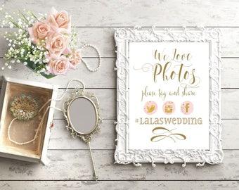 Snapchat Wedding Sign | Instagram Sign | Wedding Sign PRINTABLE | We Love Photos | Social Media Share for Wedding | Quick Turn DIY Print