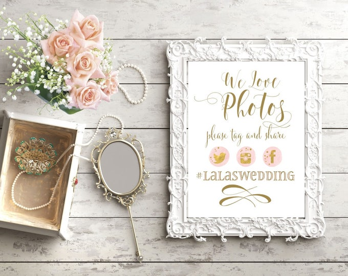 Snapchat Wedding Sign   Instagram Sign   Wedding Sign PRINTABLE   We Love Photos   Social Media Share for Wedding
