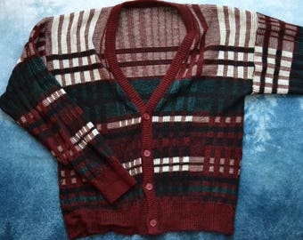 Vintage 80s Plaid Striped Knitted Dad Button Up Sweater Cardigan