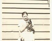 """Vintage Snapshot """"Bitsy & Bugsy"""" Boston Terrier Puppy Dog Found Vernacular Photo"""