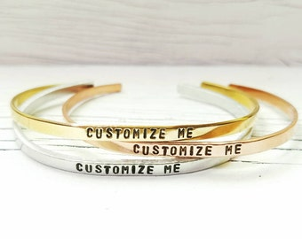 Custom Personalized Bracelet, Customized Hand Stamped Skinny Stacking Cuff