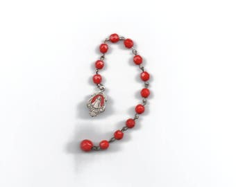 Infant Jesus of Prague chaplet with enameled medal and red Czech glass beads and one large bead, vintage, antique, Catholic