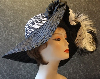 NOW with FREE SHIPPING! Derby Hat, Kentucky Derby Hat, Easter Hat, Garden Party Hat, Tea Party Hat, Church Hat  Black&White Hat  313