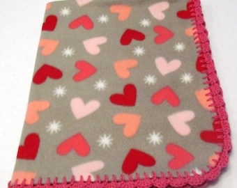 Fleece Heart Blanket with Crocheted Edge, fleece baby blanket, heart baby blanket, crochet edge baby blanket.  READY TO SHIP!