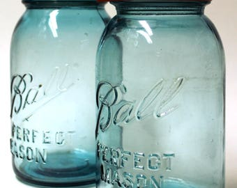 Antique Blue Glass Ball Quart Jars (x2)