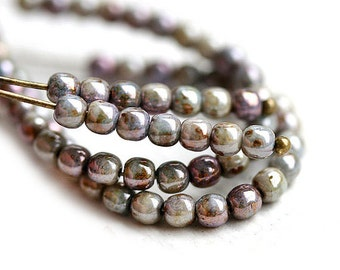 200Pc - 3mm Mother of Pearl luster Picasso beads, Grey czech glass small spacers, round, druk - 2634