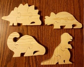 Set of 4 Natural Wood Dinosaur Puzzles - Natural - Wood Toys - White Pine Wood - Games - Jigsaw Puzzles - Prehistoric - Wood Puzzles
