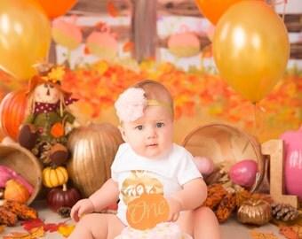 Pumpkin Cake Topper - Pumpkin Cupcake Topper - Halloween Cake Topper - Kids Birthday Party - First Birthday - Birthday Smash Cake Topper -