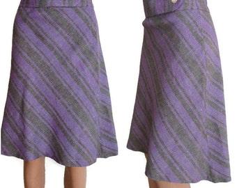 Vintage striped skirt, 80's skirt, linen skirt, boho spring skirt, midi skirt, high waisted, knee length, work secretary skirt, small medium