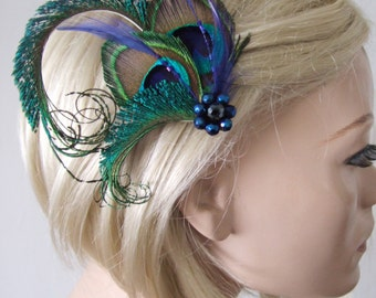 "Peacock Feather Green Royal Blue Fascinator Hair Clip Bridal ""Ivy"" - 1 Day to Make - Bridesmaids Bride Flapper Gatsby Party Woodland Wedding"
