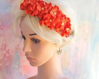 Large Red Gardenia Floral Headband Flower Fascinator Vintage Wedding Party Bridal Accessory Bridesmaid statement