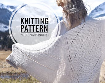 Knitting Pattern | Shawl Scarf Womens Fashion Scarf Instant Download PDF Pattern / Easy Beginner Knitting Scarf Pattern