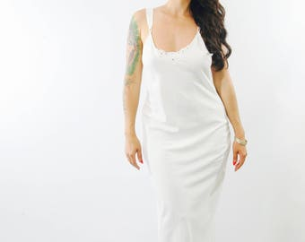 1990s white slip dress / summer wedding dress/ Small - Medium