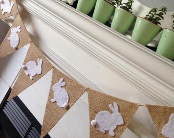 Easter Banner - Easter Decorations - Easter Bunny Banner - Burlap Easter Banner - Easter Photo Prop - Easter Garland - Easter Bunting