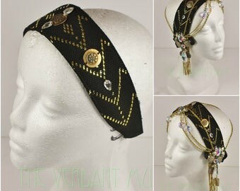 Assuit Headdress Base- Black and Gold Genuine Assiut Tribal Fusion, Flapper, Festival, or Boho Headpiece