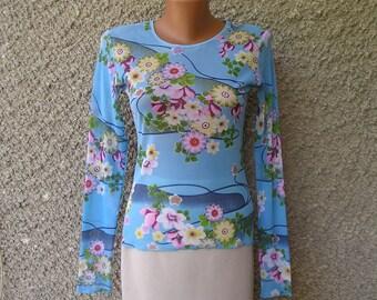 Vintage 90s mesh floral shirt, size S