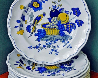 """Vintage 8 Ca 1972 SPODE BLUEBIRD DINNER Plates 10 5/8"""" di Excellent Like New Condition, Made in England"""