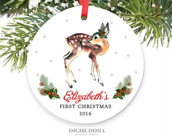 Baby's First Christmas Ornament Baby Girl ornament Deer Personalized Christmas Ornament Baby Shower Gift Deer Ornament Fawn Ornament Doe