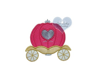 Princess Carriage Appliqued Embroidered Patch, Sew or Iron on