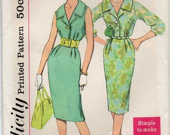 Dress With Wide Collar One Button Front Closing Bodice Slim Skirt With Back Kick Pleat Size 12 Sewing Pattern Simplicity 2949