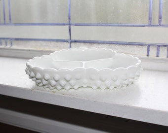 Milk Glass Hobnail Relish Dish 3 Compartment Vintage 1960s Cloverleaf