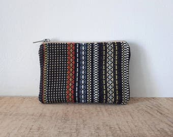 Women's Upcycled Boho Stripe Clutch by Bakeapple Designs, Zip Pouch, Purse, Black, Handmade, Upcycled, Gift under 20