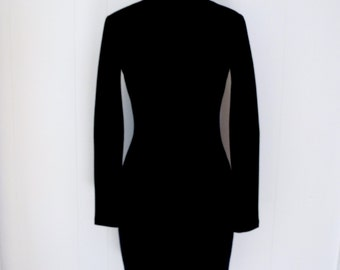 90's DKNY Bodycon Minimalist Black Wool Tight Turtleneck Dress Bandage Dress S