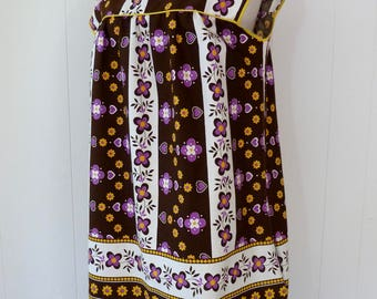 60's Cotton House Dress Sweetest Heart Daisy Floral Print Purple Yellow Brown Lounger Plus Size Novelty Print XL 1X