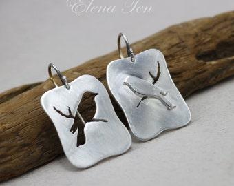 Silver Bird Earrings Bird Dangle Earrings Bird on Branch Sterling Silver Asymmetrical Rectangle Earrings Bird Earings 925 Birdie Earrings