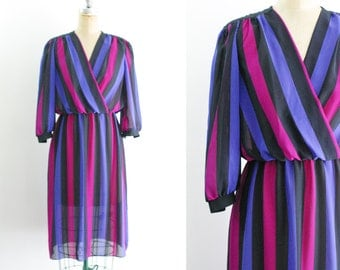 Vintage 1980s 80s Purple Stripe Dress Faux Wrap Dress Purple 80s Dress Vertical Stripe Dress Sheer Dress Valentines Dress Small Mediu