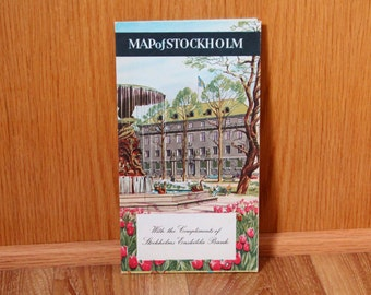 Map of Stockholm - Stockholms Enskilda Bank - Vintage 1960's Fold-out Map