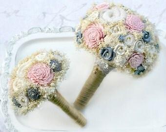 Blush Blossom Wedding Bouquets Set // Grey, Bridal Bouquets, Sola Bouquets, Burlap Bouquet Set, Wedding Flower Set, Bridal Party Flowers
