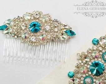 Crystal bridal Headpiece, Rhinestone Headpiece, turquoise wedding, Silver Wedding Comb