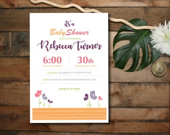 Baby Shower Invitation - It's a GIRL baby shower invite - DIY printable baby shower Invitation