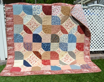 Americana Primitive Traditional Handmade Country Quilt Homespun  Toile Folk Art Shabby Elegance Cottage Chic Large Throw Small Twin Quilt