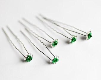 20 Hair Forks - Silver - 70mm - Dark Green - 11mm Flower - Ships IMMEDIATELY from California - HF60