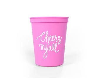Light Pink with White Ink Plastic Cups - Cheers Y'all Party Cups - Baby Shower Cups - 16 oz. Stadium Cups - Cheers Ya'll