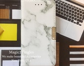 White Grey Marble Granite Pattern Flip Open Photo Credit ID Card Wallet Stand Case Made w/ Swarovski Crystals For iPhone 7 or 7PLUS