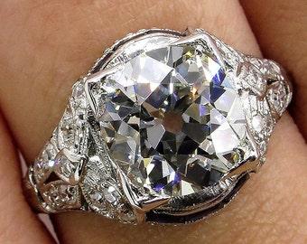 Edwardian/Deco 3.12ct  Antique Cushion Diamond & Sapphire Platinum Engagement Wedding Ring
